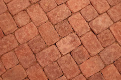 Burned brick paving (Diagonal). Close up of new brick paving in a yard. Suitable as background Stock Photos