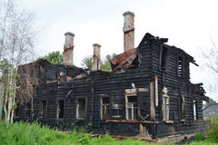 Burned building. Royalty Free Stock Photography