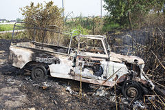 Burned car. Car accident and it is destroyed by fire Royalty Free Stock Photo