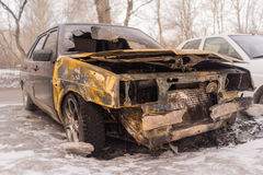 Burned car after arson Royalty Free Stock Photos