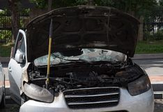 Burned car stock images