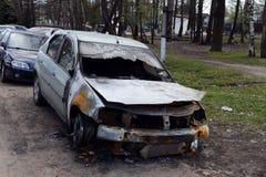 Burned car on the street city Balashikha Royalty Free Stock Photography