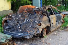 Burned car. Royalty Free Stock Photo