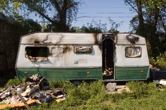 Burned caravan Stock Photography