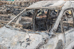 Burned cars Stock Images