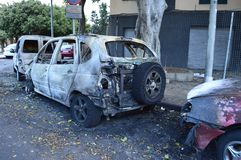 Burned cars after night fire Tenerife Spain royalty free stock image