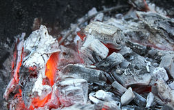 Burned coal 3. Outdoor shot with smoldering charcoal Royalty Free Stock Image