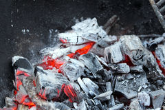 Burned coal 4. Outdoor shot with smoldering charcoal Royalty Free Stock Images