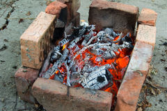 Burned coals. BBQ outdoors Stock Photography