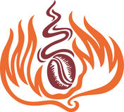 Burned Coffee. A symbol of a coffee in flame and had a good smell vector illustration