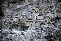 Burned cross Royalty Free Stock Photos