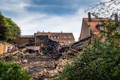 Burned and demolished house stock photos