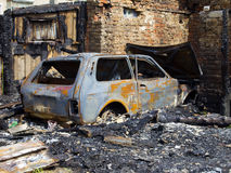 Burned a fire garage and car Stock Images
