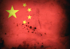 Burned flag of China Royalty Free Stock Photo