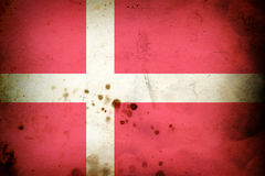 Burned flag of Denmark Stock Photos