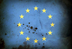 Burned flag of European union Royalty Free Stock Photography