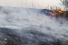 Burned grassland. Smoking, burned grassland in Flint Hills of Kansas Stock Photo