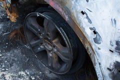 Burned gray car. Royalty Free Stock Photography
