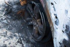 Burned gray car. Royalty Free Stock Image