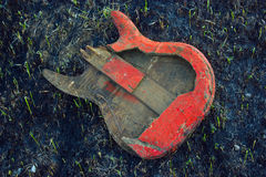Burned guitar royalty free stock images