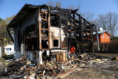 Burned home  Stock Photos