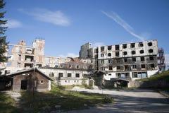 Burned hotel Stock Photo