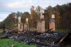 Burned house Stock Photo