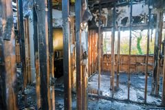 Burned House Interior After Fire Burnt Black Timber Roof Structure Building Room Inside Royalty Free Stock Images