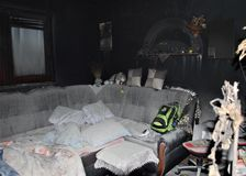 BURNED HOUSE: Living room Royalty Free Stock Photography