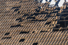 Burned house roof Royalty Free Stock Photos