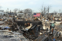 Burned houses in the aftermath of Hurricane Sandy in Breezy Point, NY