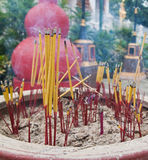 Burned incense sticks in the Incense holder. Royalty Free Stock Photos