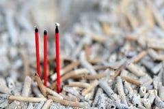 Burned Incense sticks in joss-stick pot Royalty Free Stock Photo
