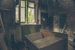 Burned interiors of apartment building room after fire Stock Photography