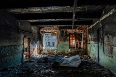 Burned interiors and furniture in industrial or office building. Fire consequences concept.  royalty free stock photography