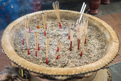 Burned joss stick in the pot2 Royalty Free Stock Images