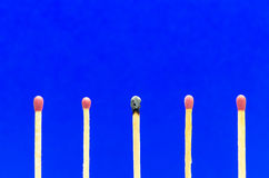 Burned match setting on blue background for ideas and inspiratio Stock Image