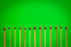 Burned match setting on green background for ideas and inspirati Stock Images
