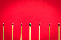 Burned match setting on red background for ideas and inspiration Stock Images