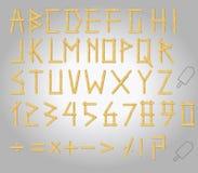 Burned matchstick uppercase alphabet Stock Photo