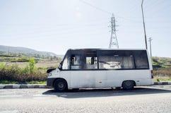 Burned Mini Van Royalty Free Stock Images