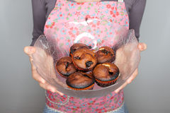 Burned muffins royalty free stock photos