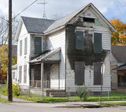 Burned Out & Boarded Up House Royalty Free Stock Photography