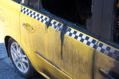 Burned-out car. Completely burned taxi car, are not liable nor what recovery Stock Image
