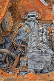 Burned-out car engine Royalty Free Stock Photography