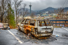 Burned Out Car After Gatlinburg Forest Fire Royalty Free Stock Images