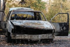 Burned out car in the woods royalty free stock image