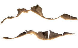 Burned paper edges set isolated. On white royalty free stock images