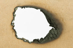 Burned paper and hole Royalty Free Stock Photos