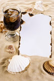 Burned paper with shells and drink Stock Photos